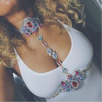 Vedawas Bohomian Fashion Jewelry Multicolor Crystal Choker Maxi Necklace Bracelets Body Statement Chain Necklace For Women 2178