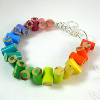 Colored Pencil, Beaded Bracelet, Jewelry, Charm Bracelet, Upcycled, Gift, Recycled, Friendship Bracelet, Rainbow, Neon, Fluorescent Multi