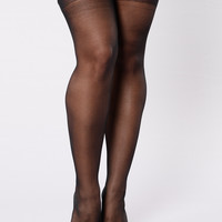 Sheer Thigh High Lace Top Stocking - Black