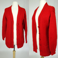 Red wool cardigan, vintage hand made button up long sleeve sweater jacket with pockets, medium to Large