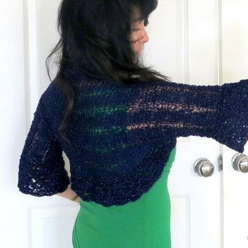 Navy Blue Shrug, Sparkly Hand Knit Summer Shrug