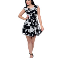 Black & White Floral Lace Cap Sleeve Fit & Flare Dress