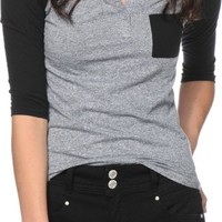 Zine Gamma Black & Charcoal Henley Shirt