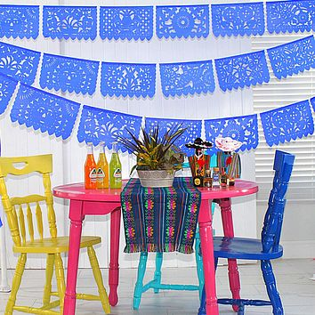 Papel Picado, 5 Pack banners in Royal blue 60 Ft WS2030