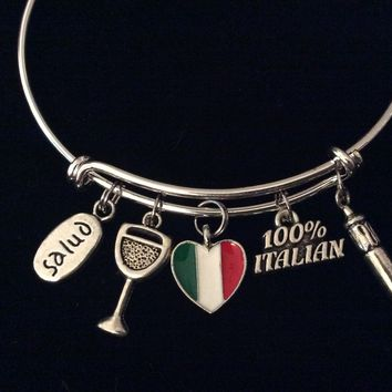 Salud Italian Flag Jewelry Adjustable Charm Bracelet 100% Italian Horn Silver Expandable Wire Bangle One Size Fits All Gift Italy