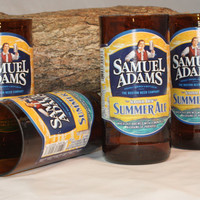Samuel Adams Summer Ale Drinking Glasses, from Recycled Beer Bottles, 8 oz