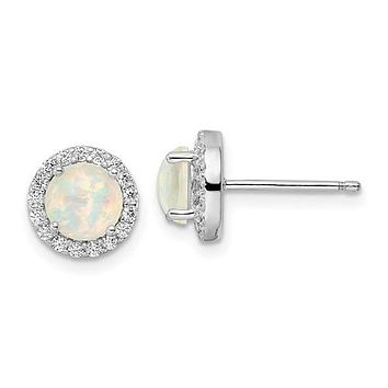 Sterling Silver Round White Created Opal And CZ Halo Post Earrings