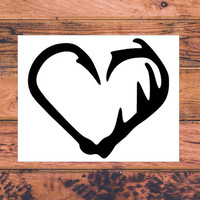 Antler Hook Decal | Hunting Fishing Decal | Couples Decal | Hook Antler Couple Decal | Hook Antler Heart Decal | Monogrammed Decal | 281