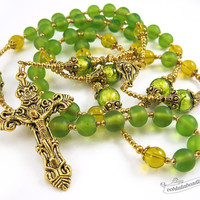 Green rosary gold rosaries confirmation rosary catholic gift communion rosary traditional rosaries christening gift glass rosary golden