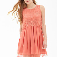 FOREVER 21 Eyelash Lace Pleated Dress Coral