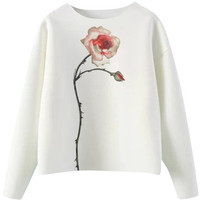Blackfive Rose Print Loose White Sweat Top