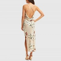 Floral Criss Cross Draped Back Cami Satin Dress
