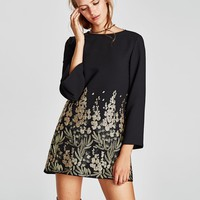 MINI DRESS WITH EMBELLISHED EMBROIDERY