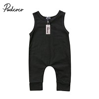 Brand born Toddler Infant Kids Baby Girls Boys Romper Sleeveless Jumpsuit Harem Pants Clothes Solid Outfits 0-18M