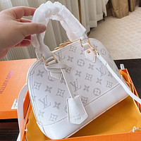 Onewel LV Summer New Monogram Print Leather Shell Shoulder Bag Handbag Crossbody Bag White