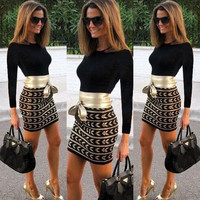 Patchwork Bodycon Dress [9819099983]