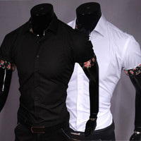 Short Sleeve Button Down with Floral Detail on Sleeves