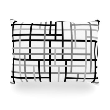 "Trebam ""Veza V"" Gray Lines Oblong Pillow"