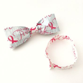 Pink Clip-On Bow Tie Set Breast Cancer Awareness Ribbon Unisex Bowties