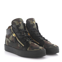 GIUSEPPE ZANOTTIS Men Kriss black canvas camouflage sneaker