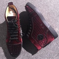 DCCK Cl Christian Louboutin Louis Spikes Style #1882 Sneakers Fashion Shoes