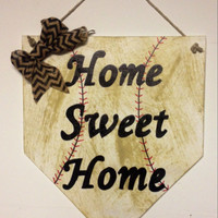 Home sweet home baseball home plate sign with basball stitching, dirt look, and chevron bow. Baseball decor