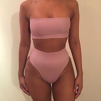 Hot Sexy pure color strapless off shoulder two piece bikini high waist Sapphire pink