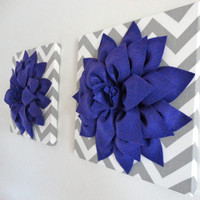 "Set of Two 12""x12"" Felt Flower Canvases, Canvas Art, Chevron, Nursery Decor, Dahlia Flower"