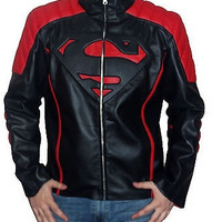 Men Leather Jacket, Superman Movie Classic Black & Red Style Leather Biker Jacket, Men Black Leather Motorcycle Jacket. = 1946413828