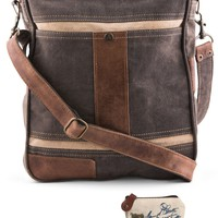 Mona B Upcycled Cameron Canvas & Leather Crossbody Bag with Coin Purse