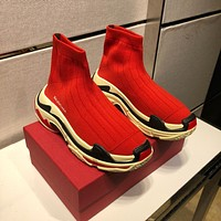 Balenciaga 2020 Popular TREDING Men red Casual Breathable Socks Shoes Sneakers Running Shoe Balenciaga high top boot