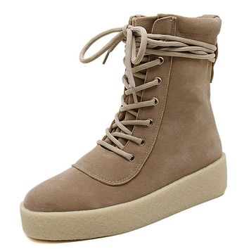 Genuine Leather Suede Platform Boots for Women 1313