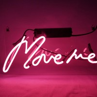 """New Neon Sign Pink 'Move Me' Cool Led Lamp Light Decoration 12.6"""" x 6.7"""" For Home Beer bar Pub Hotel Beach Recreational Game Room"""