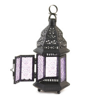 Wholesale Moroccan Style Candle Lantern With Light Purple Textured Glass Panels