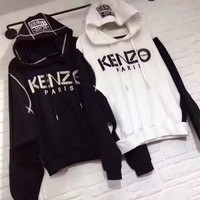 """Kenzo"" Women Sport Casual Multicolor Letter Pattern Long Sleeve Loose Hooded Sweater Tops"