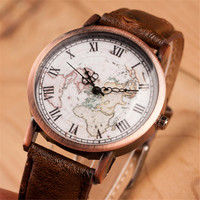 Women Vintage Style World Map Casual Sports Leather Watch Gift
