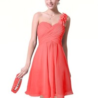 Ever Pretty Womens One Shoulder Knee Length Wedding Guest Dress 12 US Coral