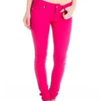 Cotton Cantina Juniors Skinny Jeans Bold Colors (13, S.Magenta)