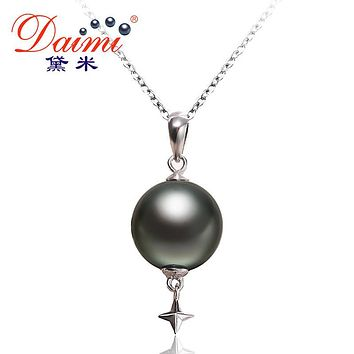 DAIMI Star Pendant Black Tahitian Pearl Pendant Sterling Silver Jewelry Simple 10.5-11mm Deep See Pearl Pendant Necklace