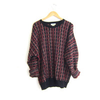 Vintage retro sweater. black and red sweater. Geometric pullover. retro shirt.