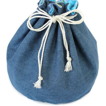 Denim & Light Blue Dots Flannel Toy Bag Upcycled Blue Jeans Boys Green White Medium Bucket Bag Toy Storage -US Shipping Included