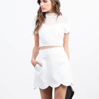 Scallop Mini Skirt