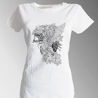 Aztec Native American Indian Woman with Feather Flower Helmet Goddess White Fitted 100% cotton T shirt t-shirt tee