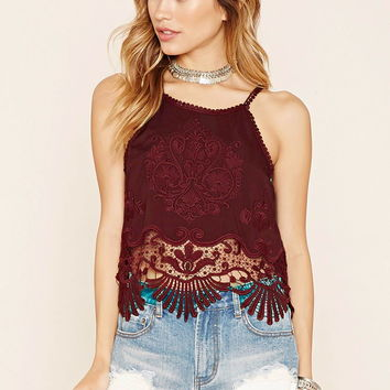 Embroidered Crochet Cami