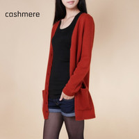 14 pure cashmere sweater medium-long cashmere cardigan loose sweater for female outerwear