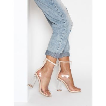 Melissa Nude Peep Toe Transparent Heel Ankle Boots : Simmi Shoes