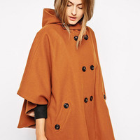 Brown Buttoned Hooded Woolen Cape Coat