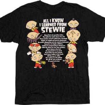 Family Guy All I know I Learned From Stewie Black T-shirt