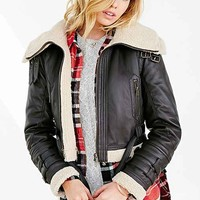 BDG Shearling Faux Leather Jacket - Brown Multi