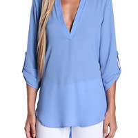 Skylar V-Shaped Chiffon Blouse
